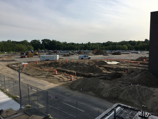 View of the West 1 parking lot beginning construction