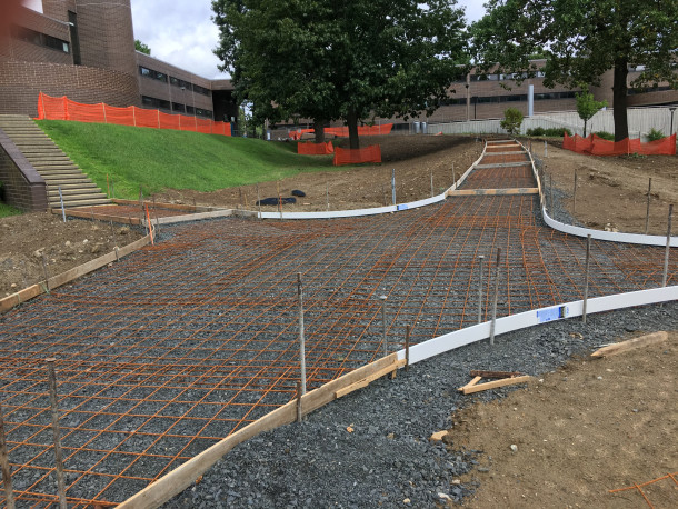 Photo of Quad walkway under construction